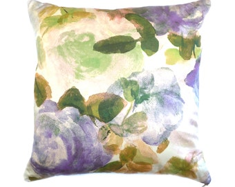 Botanical Cushion / Pillow, Silk Cotton. Hand Painted Purple & Lilac Roses. Interior Accessory. Home Accessory. Cushion cover. Flower Print