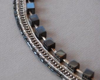 Repurposed Beaded Necklace Pyrite Silver Tone Chain and Metallic Bead Multi-Strand // Repurposed Vintage Jewelry