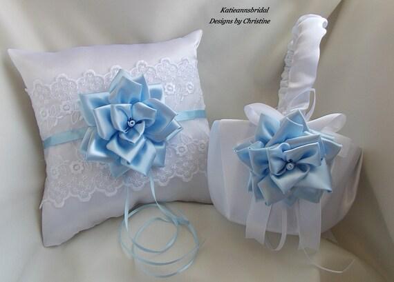 Wedding flower girl basket ring bearer pillow : Wedding ring bearer pillow flower girl basket by