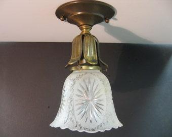 1088 Vintage Brass Ceiling Shade Holder w/Vintage Etched Glass Shade Rewired Restored