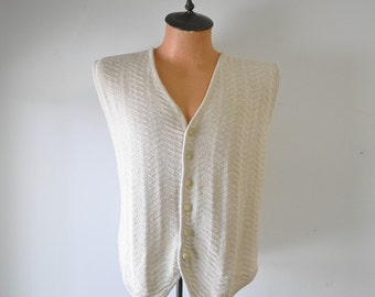 1970s vintage cream colored silk sweater vest--Fenn Wright and Manson