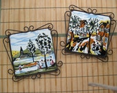 Pair of Spanish Tile Wall Plaques or Trivets