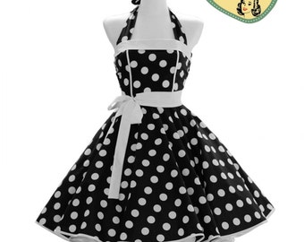 50's vintage dress full skirt black white polka dots classic Tailor Made after your measurements #0031