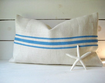 Burlap Pillow with Sky Blue Stripes /Grainsack Pillow /Cottage Style Pillow /Beach Pillow /Rustic Decor /Farmhouse Pillow
