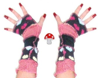 DEPOSIT Special Order Arm Warmers Romantic Daydream Fingerless Gloves Girly Pink Patchwork Baby Blue Hearts Dreamer Valentines Day Warmies
