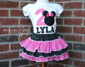 Personalized PINK Minnie Mouse Polka Dot Birthday Outfit Including Shirt and Triple Ruffle Skirt