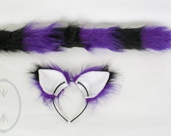 Purple & Black Striped Cat Skinny Tail and/or Ears Set, Combo, Costume