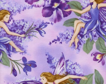 Cotton Fabric Fairies Dream Pink Metallic BTY Timeless Treasures Quilt craft sewing
