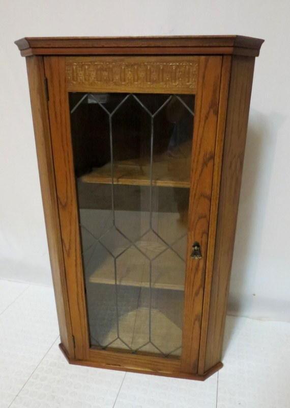 Vintage Antique Style Golden Oak Hanging Wall Corner Cabinet