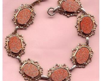 Victorian Revival Goldstone Link Bracelet
