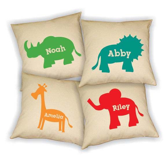 Zoo Animal Pillows : Playroom Pillow Cover Kid Playroom Decor Zoo Animals