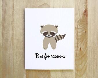 R is for Raccoon woodland animal alphabet nursery print portrait illustration 8x10 5x7 gifts under 15 brown black gray cream khaki
