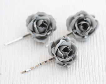 72_Gray wedding, Hair clips roses, Flower pins, Hair clips flowers Floral hair accessories Flower hair piece Wedding barrettes,Rose barrette