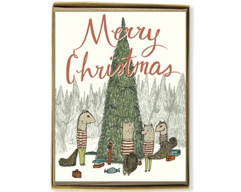 Holiday Card Set - Merry Christmas Squirrel Family Christmas - Illustrated Christmas Greeting Card Set