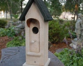 """Birdhouse Primitive Painted Barn Wood White Green Roof Handmade Rustic Copper Porch 18"""""""