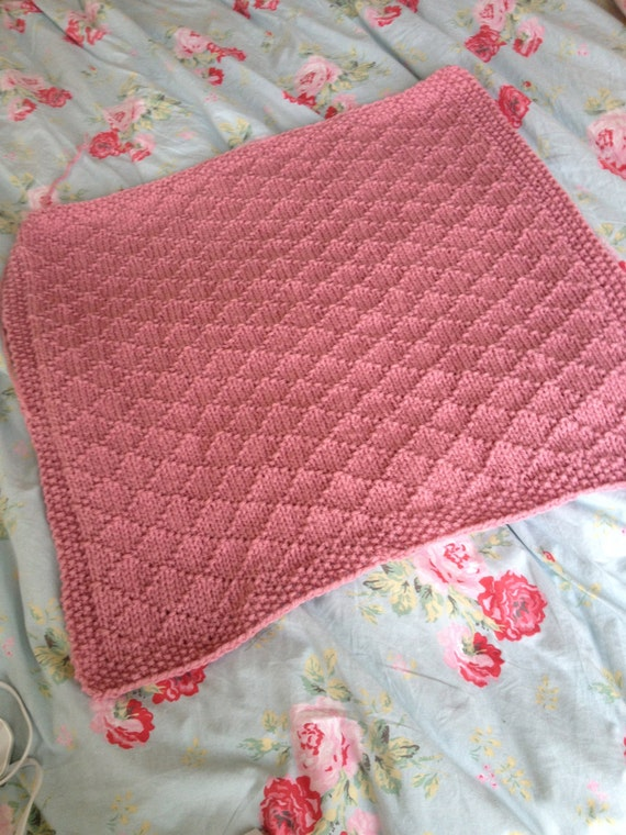 Knitting Pattern For Chunky Baby Blanket : Knitting Pattern Chunky Pram Blanket Baby Gift Pdf