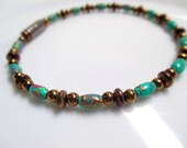 Magnetic Hematite Bracelet - Copper and Turquoise Rice