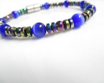 Magnetic Hematite Bracelet Blue Cats Eye Therapy Bracelet