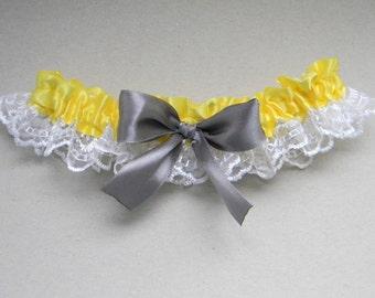 Wedding Garter, Yellow Garter, Grey Garter Bridal Garter, Lace Garter, Single Garter, Toss Garter