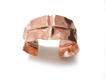 Polished Copper Cuff - Origami Copper Cuff Bracelet - Pink Copper Cuff - Folded Copper Cuff Bracelet - Cuff Style Bracelet  Reticulated Cuff