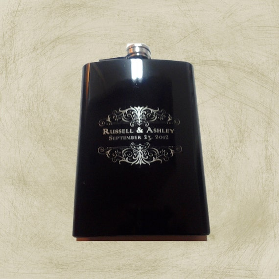 4 8 oz Black Engraved FLASK Stainless Steel high gloss Engraved Custom Personalized ENGRAVED Groomsman Gift Bridesmaid Gift Wedding Favor