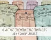 Digital Collage Sheet Download - Vintage Family Register Ephemera Tags -  1023  - Digital Paper - Instant Download Printables