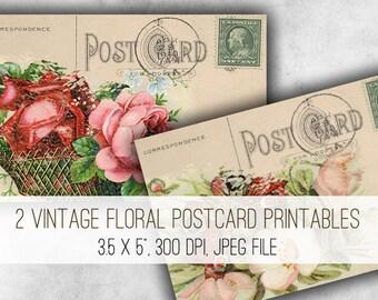 Digital Collage Sheet Download - Vintage Floral Postcards -  1016  - Digital Paper - Instant Download Printables