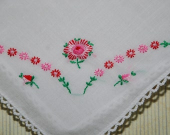 Vintage Embroidered  Handkerchief