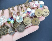 ZODIAC a prism star sign bronze charm necklace Leo pisces Libra Aquarius cancer Gemini virgo  tauras sagitarious capricorn aries scorpio