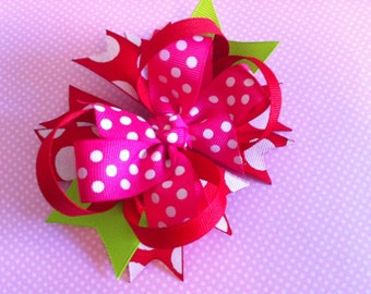 Boutique Style Layered Bow in Pink, Red and Green