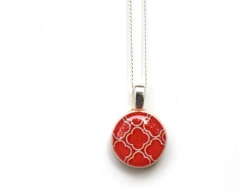 Tiny red geometric necklace gift, mom, tiny red pendant necklace geometric jewelry casual jewelry retro jewelry by starlight woods