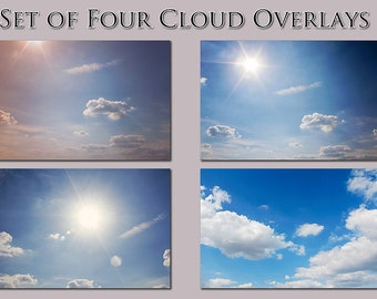 Cloud Overlays, set of four photography cloud actions. Blue, Mint, Purple, Pink Pastel colors, sun flare High-Resolution JPEG image overlays