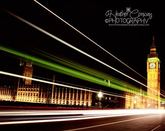 London's Big Ben at night, Digital Download Night Photography, Travel Photo, Europe Wall Art, London, England, signed professional print
