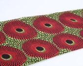 Ankara Chiffon Classic Record Design African Print Hollandais Wax  Chiffon Fabric ( Red and Lime Green) - Price Per 1 Yard-  BRAND NEW