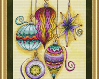 Elegant Ornaments Cross Stitch Pattern Winter Holiday Instant Download PdF