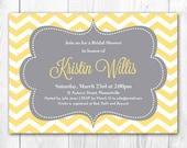 Chevron Bridal Shower Invitation. Chevron Baby Shower Invitation in Yellow & Gray. DIY Printable Bridal Shower Invite.