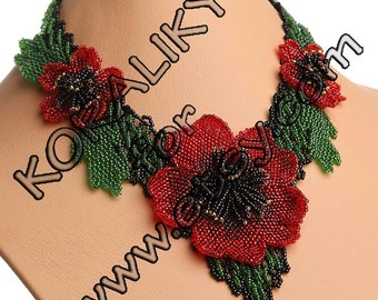 NECKLACE, Beaded Blooming Large Flower 3D Poppy Red Handmade