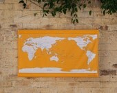 Stitch your own adventure fabric wall hanging world map with embroidery kit mustard yellow and navy blue