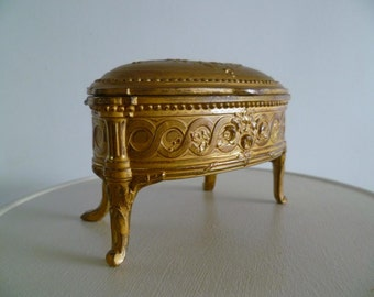French Dresser Ring Box Spelter Art Nouveau Table with Floral Rose and Ribbon Design