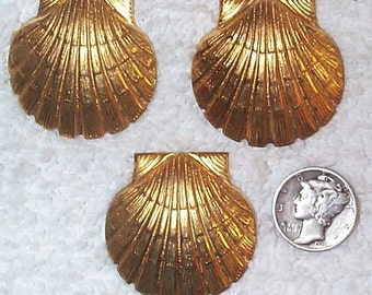 Vintage Very Detailed, Well-Struck Sea Shell Brass Stamping