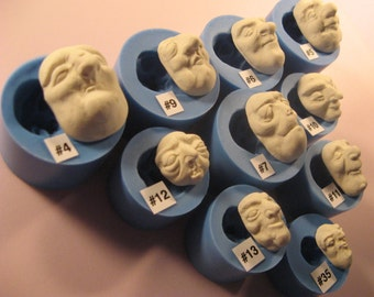 YOUR CHOICE - Food Grade Flexible Silicone Mold Mould of Doll Face Cab Witch, Hag, Zombie, Ghoul