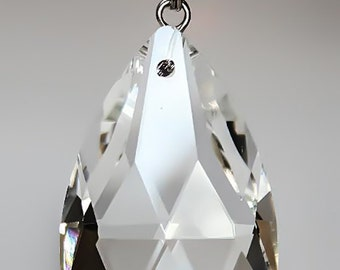 5 Clear TOP QUALITY Glass Chandelier Teardrop Crystal Prisms Silver Pinning