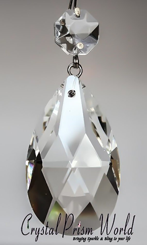 25 Clear TOP QUALITY Glass Chandelier Teardrop Crystal Prisms Silver Pinning