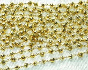 Pyrites Rosary Chain 1 Ft Gold on Sterling Vermeil Wire Chain 4mm Faceted Semiprecious Gemstone Beads Pyrites Take 10% Off Jewelry Supplies