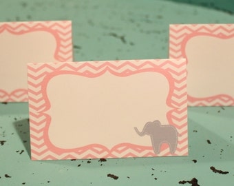 PREPPY CHEVRON ELEPHANT Baby Shower or Happy Birthday Buffet Cards Table Tents Food Labels {Set of 8} Pink Grey