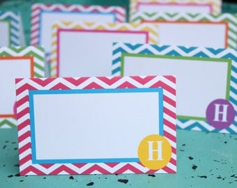 PREPPY CHEVRON Happy Birthday or Baby Shower Buffet Labels {Set of 8}Bright Colors - Party Packs Available