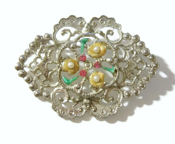 Art Nouveau filigree seed pearl, pink rhinestones, enamel floral brooch silver tone