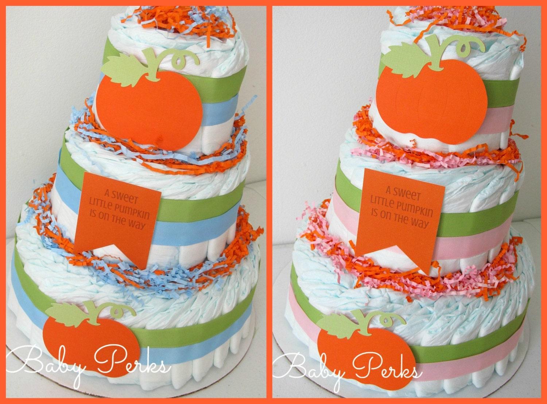 little pumpkin baby shower diaper cake baby shower