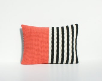 Striped black and cream with coral crochet cushion/pillow