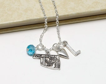Personalized Oklahoma Necklace with Your Initial and Birthstone